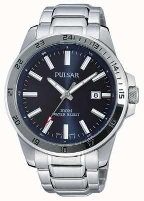 Pulsar Mens roestvrij stalen armband blauw wijzerplaat PS9331X1