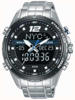 Pulsar Heren analoge digitale zwarte wijzerplaat zilveren metalen armband PZ4027X1