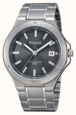 Pulsar Mens titanium armband grijze wijzerplaat PS9125X1