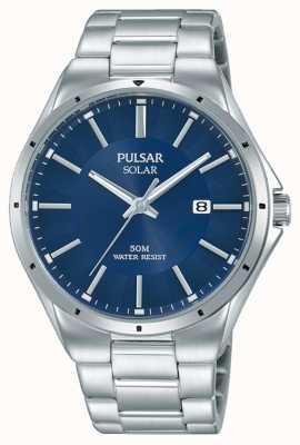 Pulsar Heren roestvrij stalen armband blauwe wijzerplaat PX3139X1