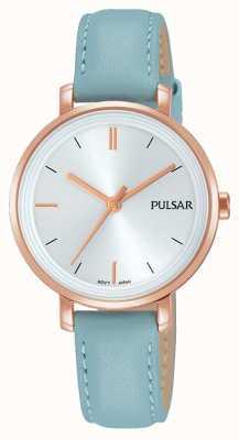 Pulsar Womans pastel blauw lederen riem zilveren wijzerplaat PH8344X1