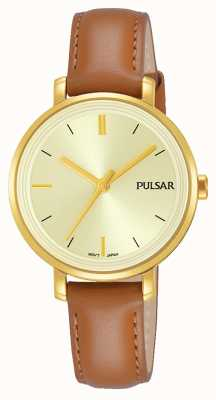 Pulsar Womans tan lederen band champagne wijzerplaat PH8364X1