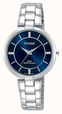 Pulsar Womans roestvrijstalen armband blauwe wijzerplaat PH8313X1