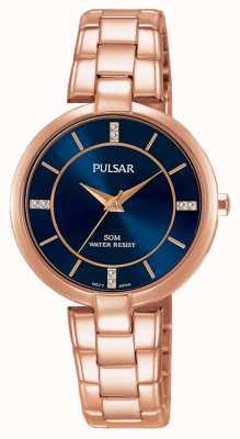 Pulsar Womans roos goud roestvrijstalen armband blauw wijzerplaat PH8326X1