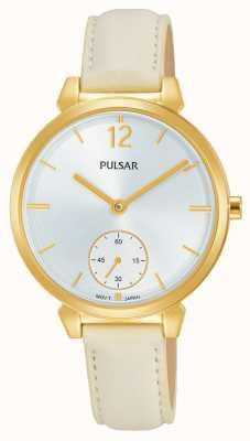 Pulsar Womans crème lederen riem zilveren wijzerplaat PN4058X1