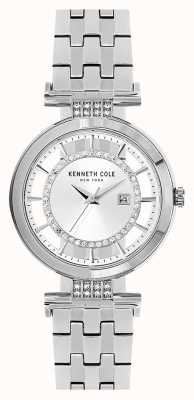Kenneth Cole Womans transparante wijzerplaat zilveren roestvrijstalen armband KC15005003