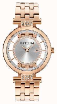 Kenneth Cole Womans transparante wijzerplaat roestvrijstalen roestvrijstalen band KC15005004