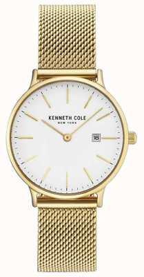 Kenneth Cole Womans vergulde roestvrijstalen mesh armband witte wijzerplaat KC15057006
