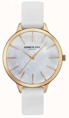 Kenneth Cole Womans wit leer van riem moeder van parelwiel KC15056001