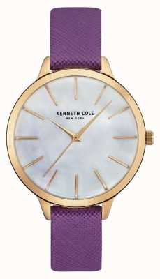 Kenneth Cole Womans paarse lederen riem moeder van parelwiel KC15056002