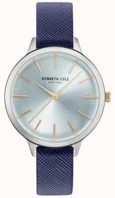 Kenneth Cole Womans blauw leer van riem moeder van parelwiel KC15056003