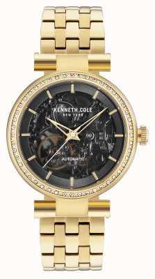 Kenneth Cole Womans automatische zwarte skeletwiel gouden armband KC15107003