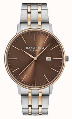 Kenneth Cole Mens twee toon staal armband bruin datum wijzerplaat KC15095001