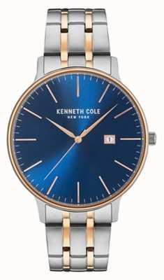 Kenneth Cole Mens twee toon staal armband blauw datum wijzerplaat KC15095002