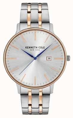 Kenneth Cole Mens twee toon staal armband zilveren datum wijzerplaat +