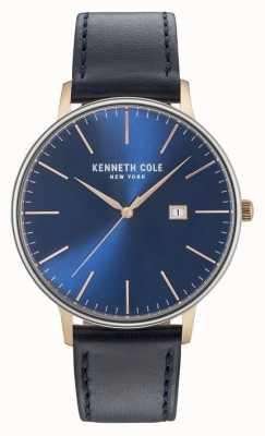 Kenneth Cole Mannen donkerblauw date dial zwart lederen riem KC15059004