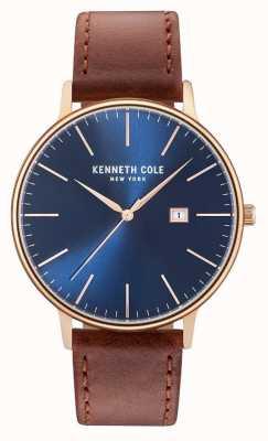 Kenneth Cole Heren donkerblauw date dial bruin lederen band KC15059007