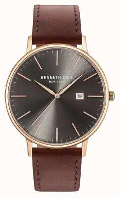 Kenneth Cole Heren donkere geweer date dial bruine lederen band KC15059008