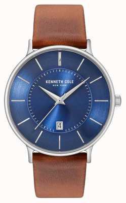 Kenneth Cole Heren donkerblauw date dial bruin lederen band KC15097001