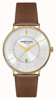Kenneth Cole Mens zilveren date dial bruine lederen band KC15097004