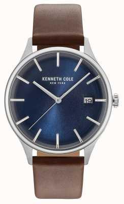 Kenneth Cole Heren donkerblauw date dial bruin lederen band KC15112001