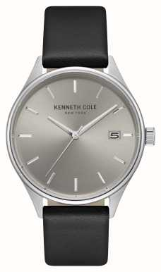 Kenneth Cole Heren lichtgrijze date dial zwarte lederen band KC15112002