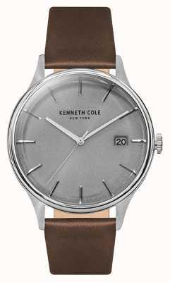 Kenneth Cole Mannen lichtgrijze date dial tan leren band KC15112003