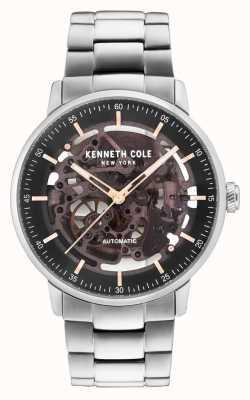 Kenneth Cole Mannen automatische zwarte skeletwiel roestvrijstalen armband KC15104004