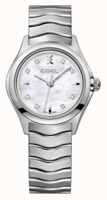 EBEL Wave dameshorloge van roestvrij staal met diamanten 1216193