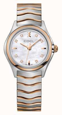 EBEL Wave tweekleurig roségouden dameshorloge met diamanten 1216324