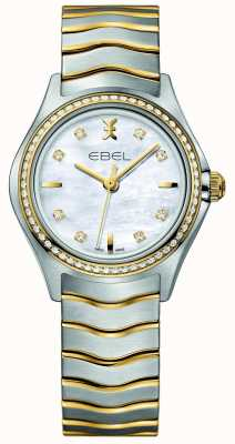EBEL Wave tweekleurig diamanten gezet dameshorloge 1216351