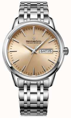 Dreyfuss Heren 1890 champagne zonnekopje zilveren stalen armband DGB00125/25