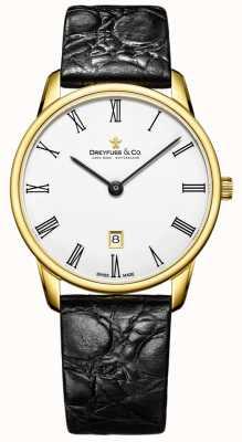 Dreyfuss Mens 1980 leren riem vergulde horloge DGS00136/01