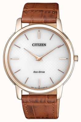 Citizen Mens eco-drive stiletto ultra dunne bruine lederen riem AR1133-15A