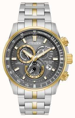Citizen Mens eco-drive radio gestuurde twee toon chrono AT4124-51H