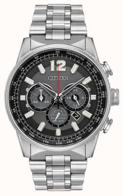 Citizen Mens eco-drive nighthawk chronograaf roestvrij staal CA4370-52E