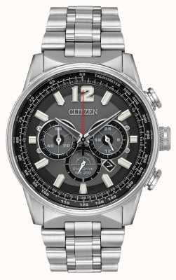 Citizen Mens eco-drive nighthawk chronograaf roestvrij staal CA4370-52E