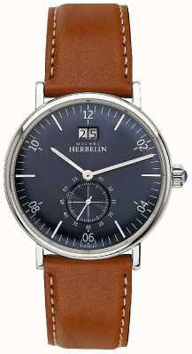 Michel Herbelin Mens inspiratie 1947 bruine lederen riem blauwe wijzerplaat 18247/15GO