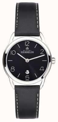 Michel Herbelin Vrouwelijke equinox zwarte band horloge 16977/14N