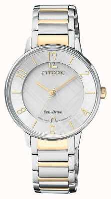 Citizen Vrouwen Eco-Drive twee toon patroon horloge horloge EM0524-83A