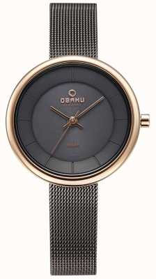 Obaku Womans lys graniet mesh armband horloge V206LRVJMJ