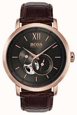 Hugo Boss Mens handtekening automatische bruine lederen horloge 1513506