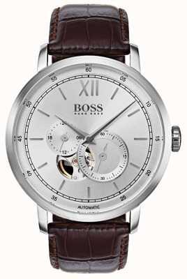 Hugo Boss Mens handtekening automatische bruine lederen horloge 1513505