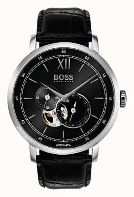Hugo Boss Mens handtekening automatische zwarte lederen horloge 1513504
