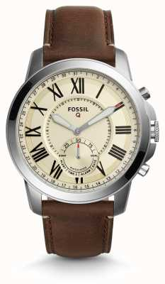 Fossil Q grant hybrid smartwatch donkerbruin leer FTW1118