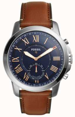 Fossil Q grant hybrid smartwatch lichtbruin leer FTW1122