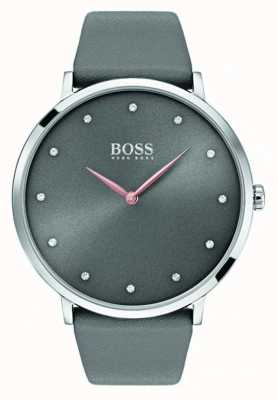Hugo Boss Womans jillian horloge grijs leer 1502413