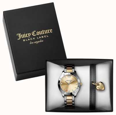 Juicy Couture Womans twee toon horloge en zwarte armband cadeau set 1950012