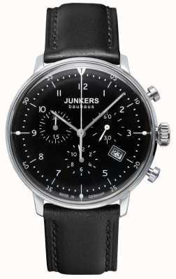 Junkers Bauhaus-chronograaf zwart lederen band voor heren 6086-2