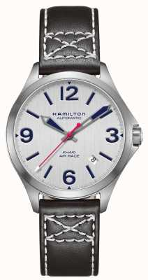 Hamilton Khaki air race 38mm zwart leer H76225751